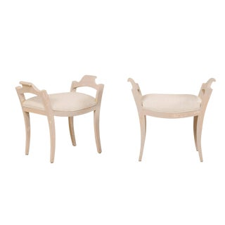 Karl Johan Swedish Painted Wood and Upholstered Stools- A Pair For Sale