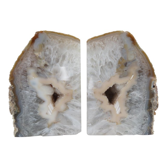 Crystal Geode Bookends - A Pair - Image 1 of 6
