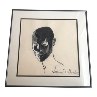 Mid-Century Charcoal Bust Drawing, Framed For Sale