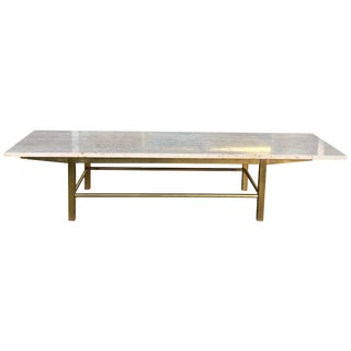 Mid-Century Modern Travertine and Brass Rectangle Coffee Table by Harvey Probber For Sale