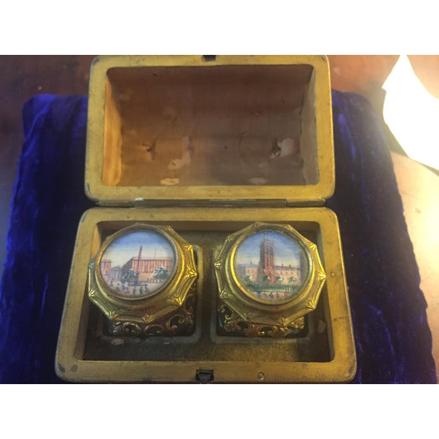 Continental Perfume Shagreen, Mother of Pearl Miniture Trunk With Gilt Filigree Crystal Bottles - 3 Pieces For Sale In Greenville, SC - Image 6 of 13