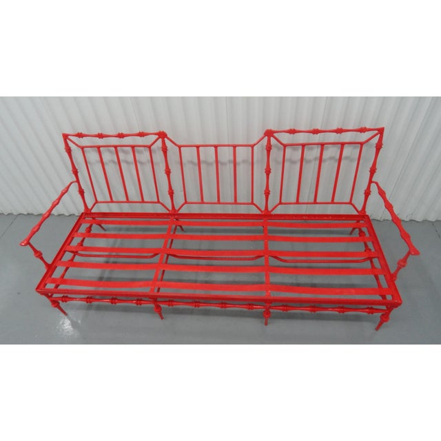 Red Vintage Mid Century Aluminum Settee For Sale - Image 8 of 9