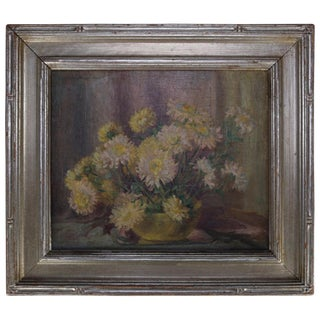 Early 20th Century Antique Arts & Crafts Floral Framed & Signed Painting For Sale