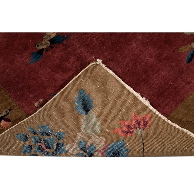 Early 20th Century Antique Art Deco Chinese Red Wool Rug For Sale - Image 4 of 13