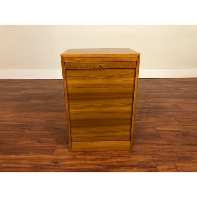 Danish Teak File Cabinet With Drop Down Tambour Door and Two Filing Drawers For Sale - Image 11 of 11
