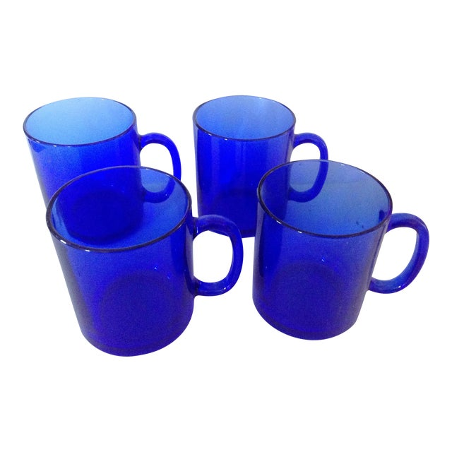 Blue French Coffee Mugs, Set of 4 For Sale
