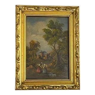 Antique European Country Landscape Painting For Sale