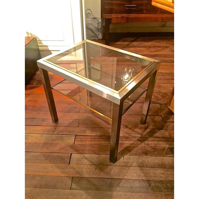 Guy Lefevre Pair of Pure Two Tiers Side Table in Brushed Steel and Bronze.