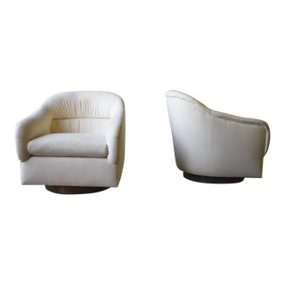 Mid Century Modern Barrel Swivel Milo Baughman Styled Armchairs - a Pair For Sale