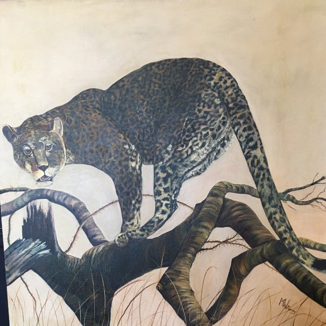 Mid-Century Leopard Oil Painting For Sale - Image 11 of 11