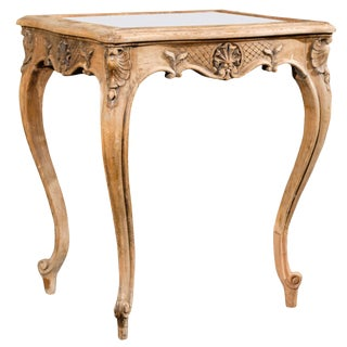 French 19th Century Brown Side/Drink Table With Mirrored Top and Leaf Carvings For Sale