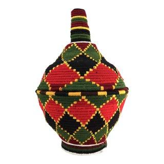 1990s Moroccan Berber Lidded Basket For Sale