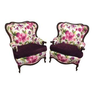 Pair of Restored Vintage 1940's Feminine Floral Wing Chairs For Sale