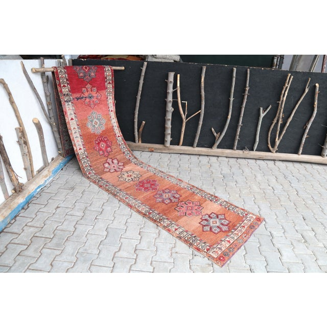 "1960's Vintage Turkish Hand-Knotted Long Runner Rug - 2'6"" X 13'8"" For Sale - Image 10 of 11"
