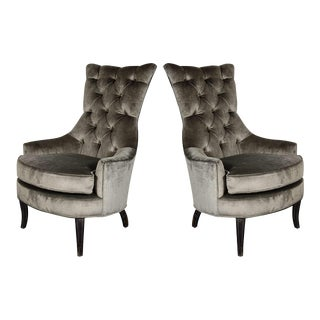 Ultra Chic Pair of Mid-Century Modern Tufted High-Back Chairs For Sale