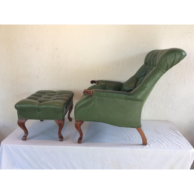 Mid-Century Modern Mid Century Green Leather Spoon Chair and Ottoman For Sale - Image 3 of 12