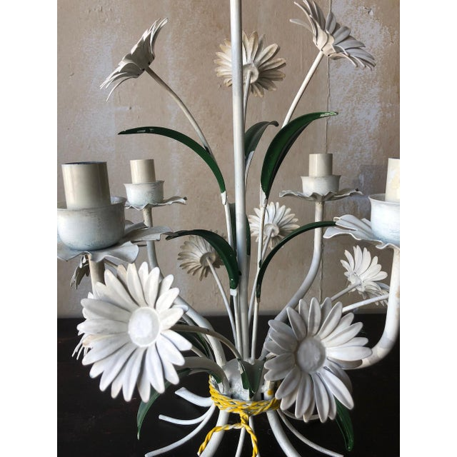 Mid 20th Century Vintage Tole Chandelier With Daisies For Sale - Image 5 of 10