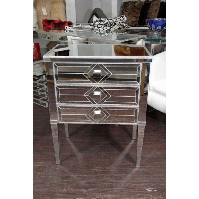 Pair of Three-Drawer Mirrored Commodes For Sale - Image 10 of 10