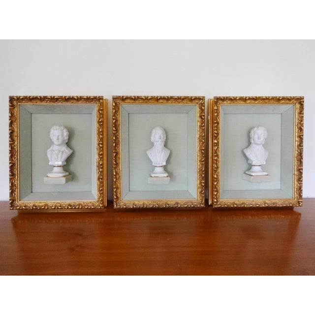 Framed Bust Portraits of Classical Composers - Set of 3 For Sale - Image 13 of 13