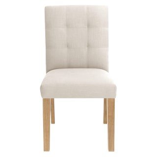 Dining Chair in Linen Talc For Sale
