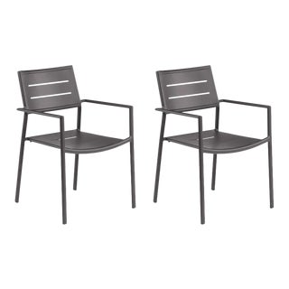 Aluminum Outdoor Arm Chair, Carbon, Set of 2 For Sale