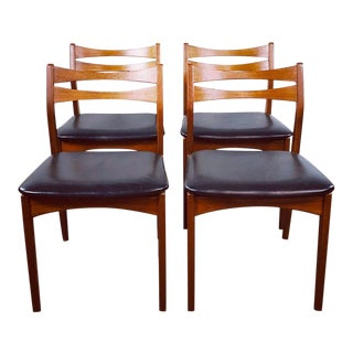Vintage Mid Century Modern Danish Teak Chairs- Set of 4 For Sale
