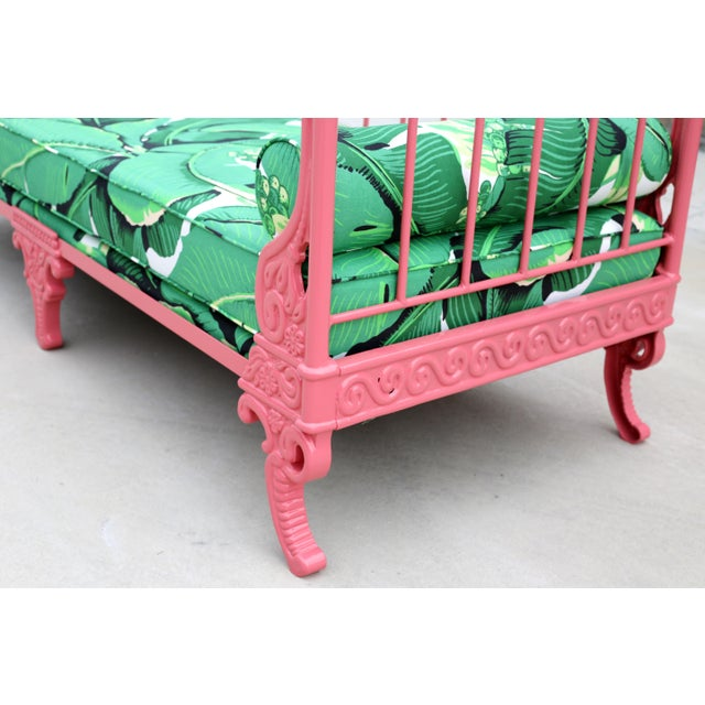 Blush Antique French Iron Daybed - Professionally Restored W/ Dorothy Draper Fabric For Sale - Image 9 of 12