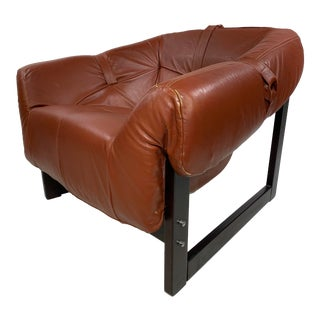 Percival Lafer Leather & Rosewood Lounge Chair For Sale