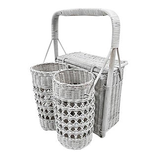 Wicker Picnic Basket and Wine Carrier For Sale
