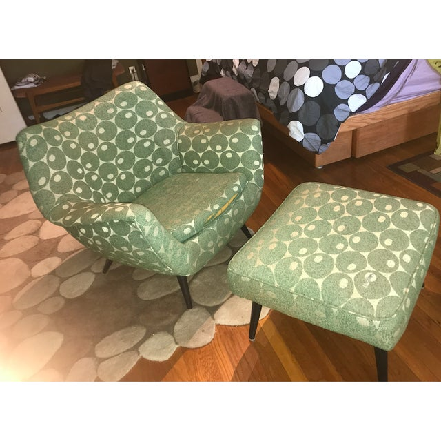 Mid-Century Modern Mid-Century Mod Martini Olive Club Chair and Ottoman For Sale - Image 3 of 10