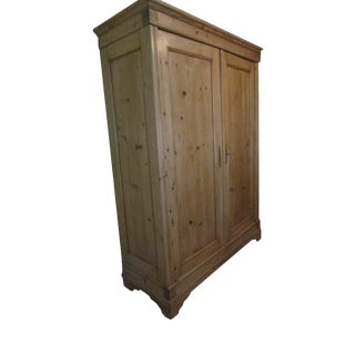 Antique French Two-Door Pine Armoire 1890-1899 For Sale
