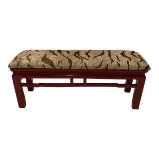 Asian Cinnabar Red Laquer Bench Upholstered in Printed Cowhide For Sale