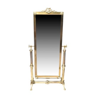 Vintage Brass Framed Cheval Beveled Mirror For Sale