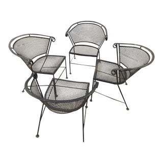 1960s Vintage Wrought Iron Patio Chairs- Set of 4 For Sale