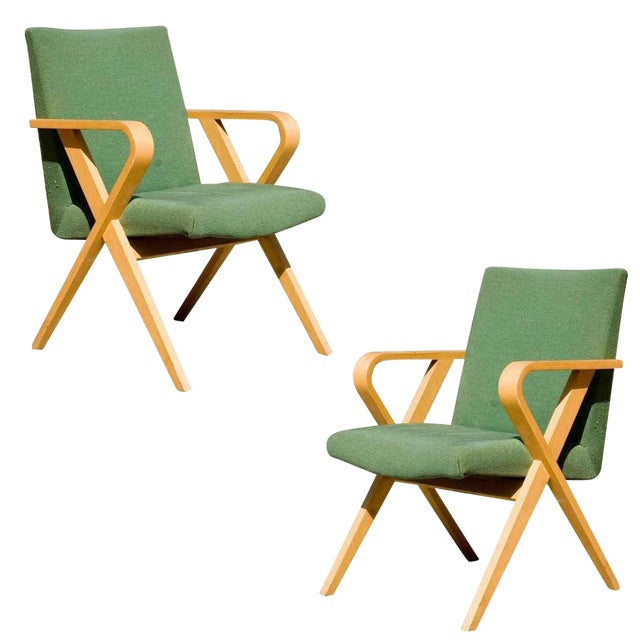 Henry Glass Designed Thonet Bentwood Upholstered Armchairs - a Pair For Sale