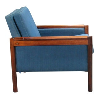 Danish Rosewood Armchair With Blue Textile For Sale