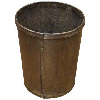Vintage 1930s Industrial Rolled Vulcanized Fiber Wastebasket Trash Can For Sale