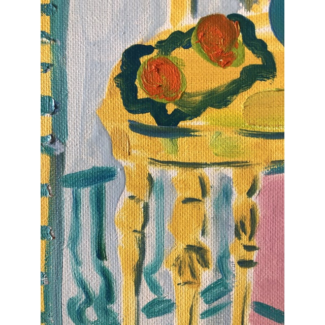 The Yellow Table Impressionist Painting 1990s For Sale - Image 6 of 9