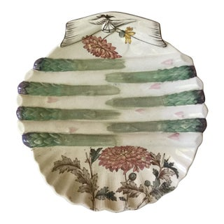 19th Century Cottage Asparagus Wall Plate With Flowers For Sale