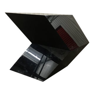 Angular Cantilevered Black Lacquer Pedestal For Sale