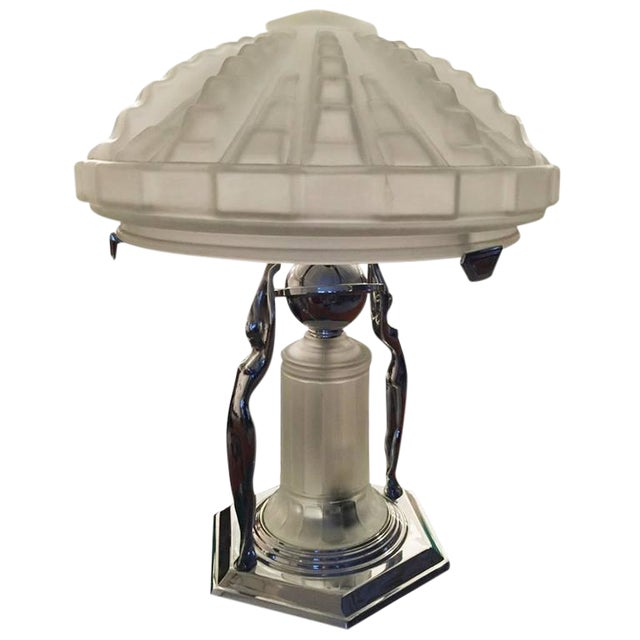 French Art Deco Table Lamp with Geometric Glass Shade For Sale