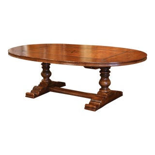 Large French Walnut and Chestnut Oval Trestle Table With Fleur-De-Lys and Star