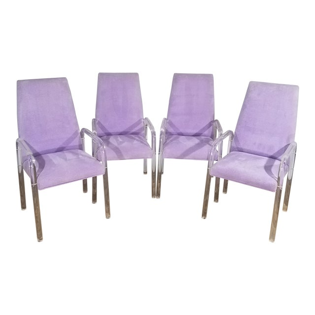Vintage Mid Century Tri-Mark Tulip Purple and Lucite High Back Chairs- Set of 4 For Sale