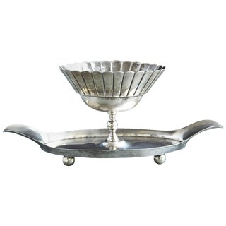 French Sterling Serving Tray With Flower Form Footed Center Bowl, Circa 1960s For Sale