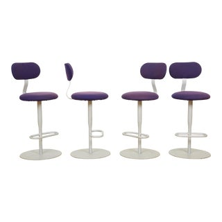 Purple Swiveling Bar Stools - Set of 4 For Sale