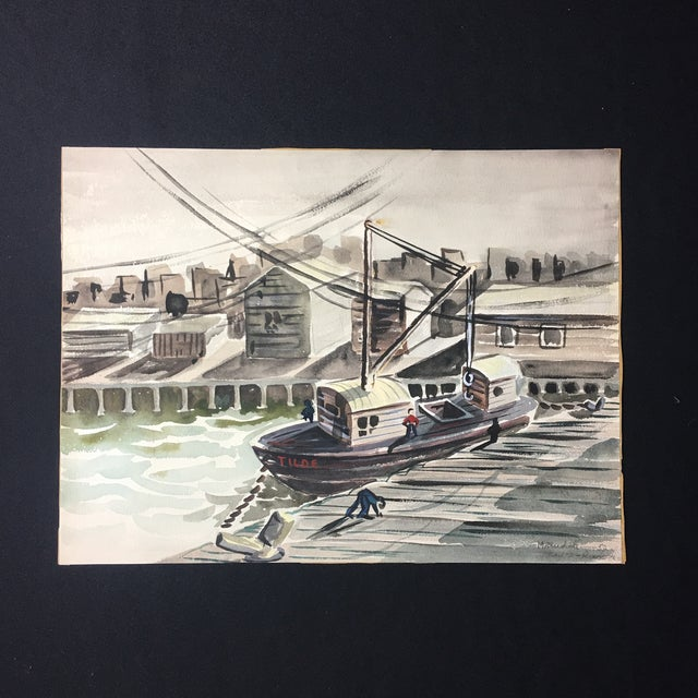 1952 Marine Watercolor Unframed - Image 4 of 7