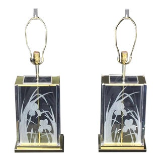 Vintage Mid Century Fredrick Ramond Etched Flowers Table Lamps- a Pair For Sale