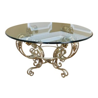 "Silver Chrome Colored Metal Base Glass Top 42"" Diameter Coffee Table"