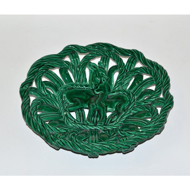 Mid-Century Modern Vallauris France Glazed Woven Ceramic Basket Emerald Green Bambi 1955, Pottery For Sale - Image 3 of 13