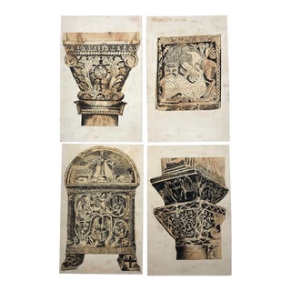 Antique Ink Drawings of Architectural Details - Set of 4 For Sale